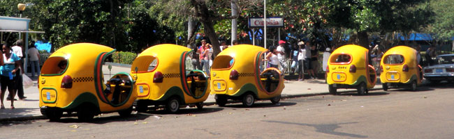 Travel through Havana in a giant yellow egg.