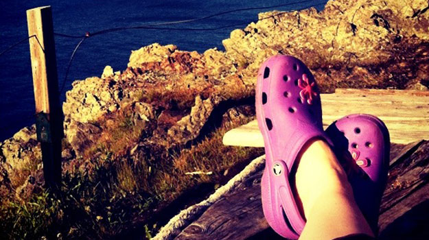 You've got to have the right footwear for lounging on the side of a cliff.